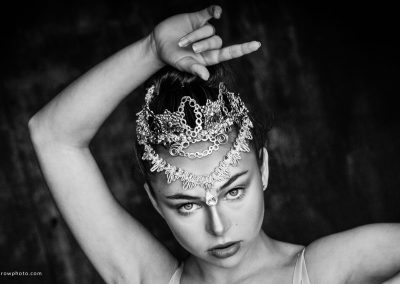 Black and white portrait of ballerina with an ornate headpiece