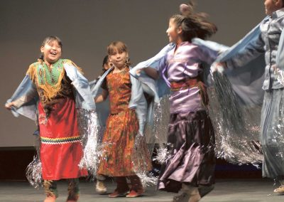 Girls dancing in colorful traditional native american clothing