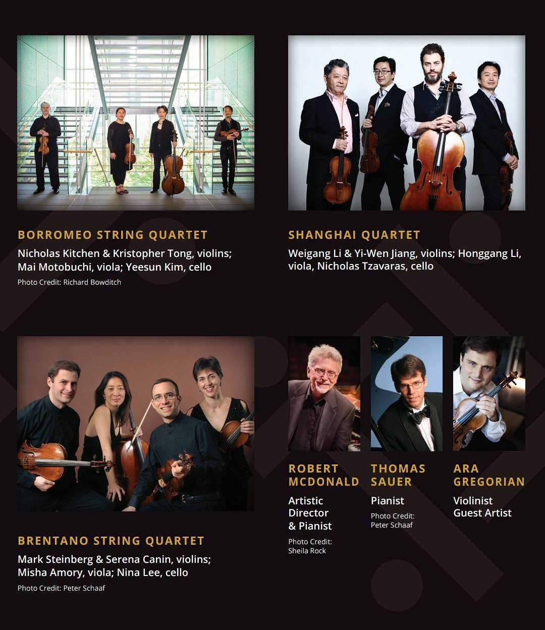 Flyer featuring Borromeo String Quartet, Shanghai Quartet, Brentano String Quartet, Robert MDonald, Thomas Sauer and Ara Gregorian and accompanying images of the performers
