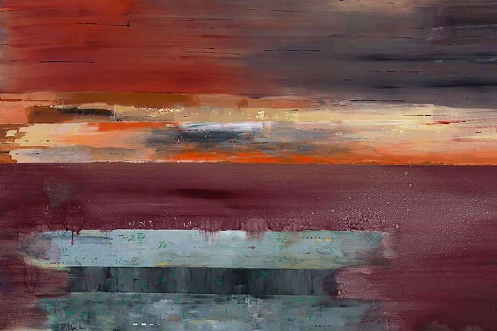 abstract painting with dominant red hues and contrasting blues